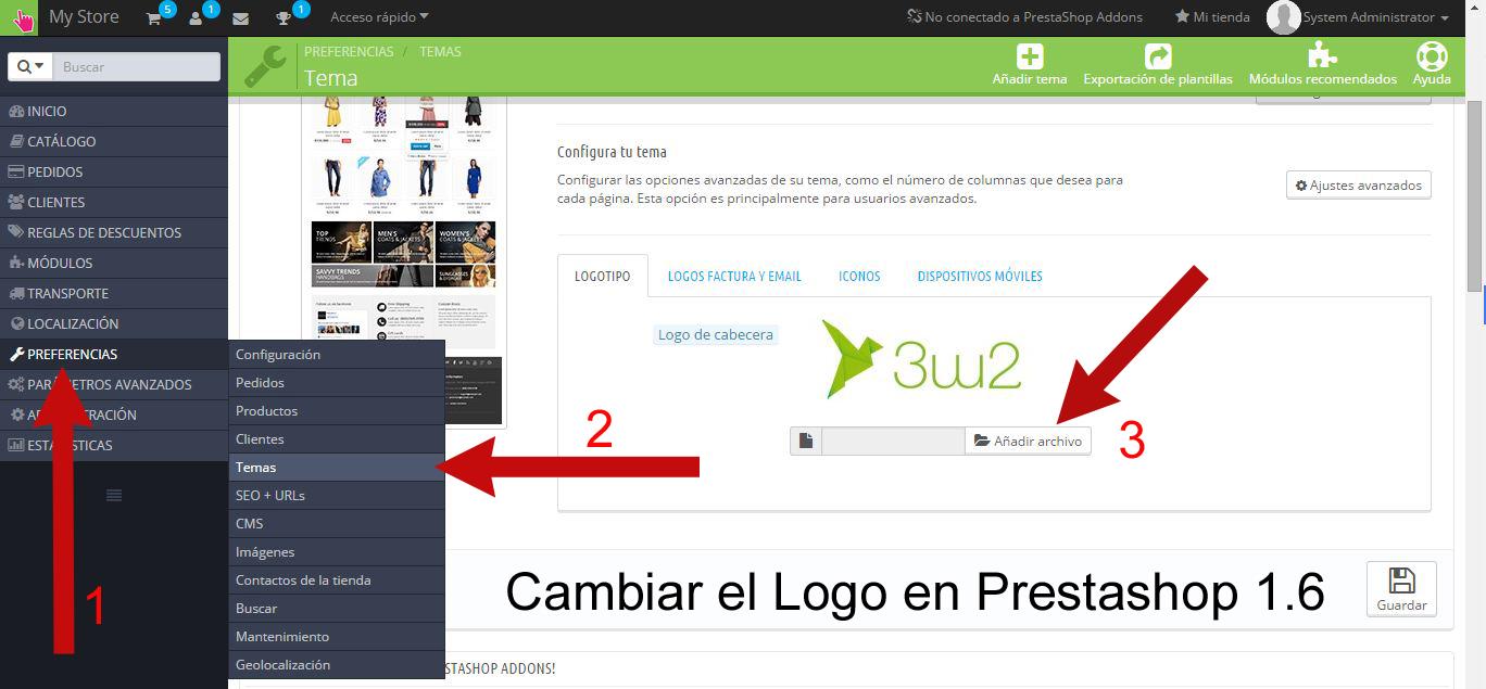 Cambiar el logo en Prestashop 1.6 – 3w2