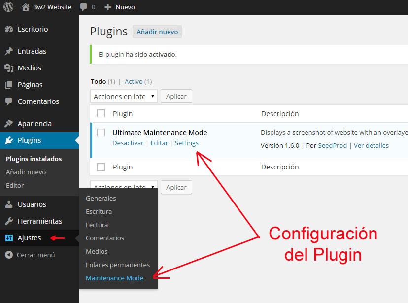 configuracion-plugin-mantenimiento-wp